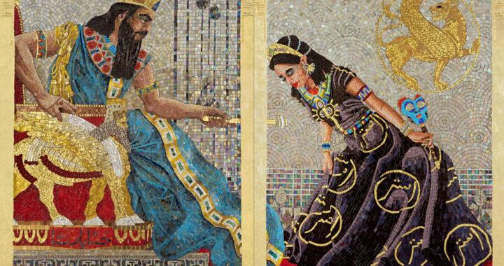 Imagem do rei Assuero sentado em seu trono, recebendo a Rainha Ester diante de si.