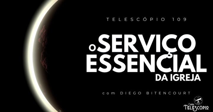 """Imagem de fundo em preto com semi-círculo de luz surgindo. Na frente, letreiro com o título do programa: """"O Serviço Essencial da Igreja com Diego Bitencourt""""."""