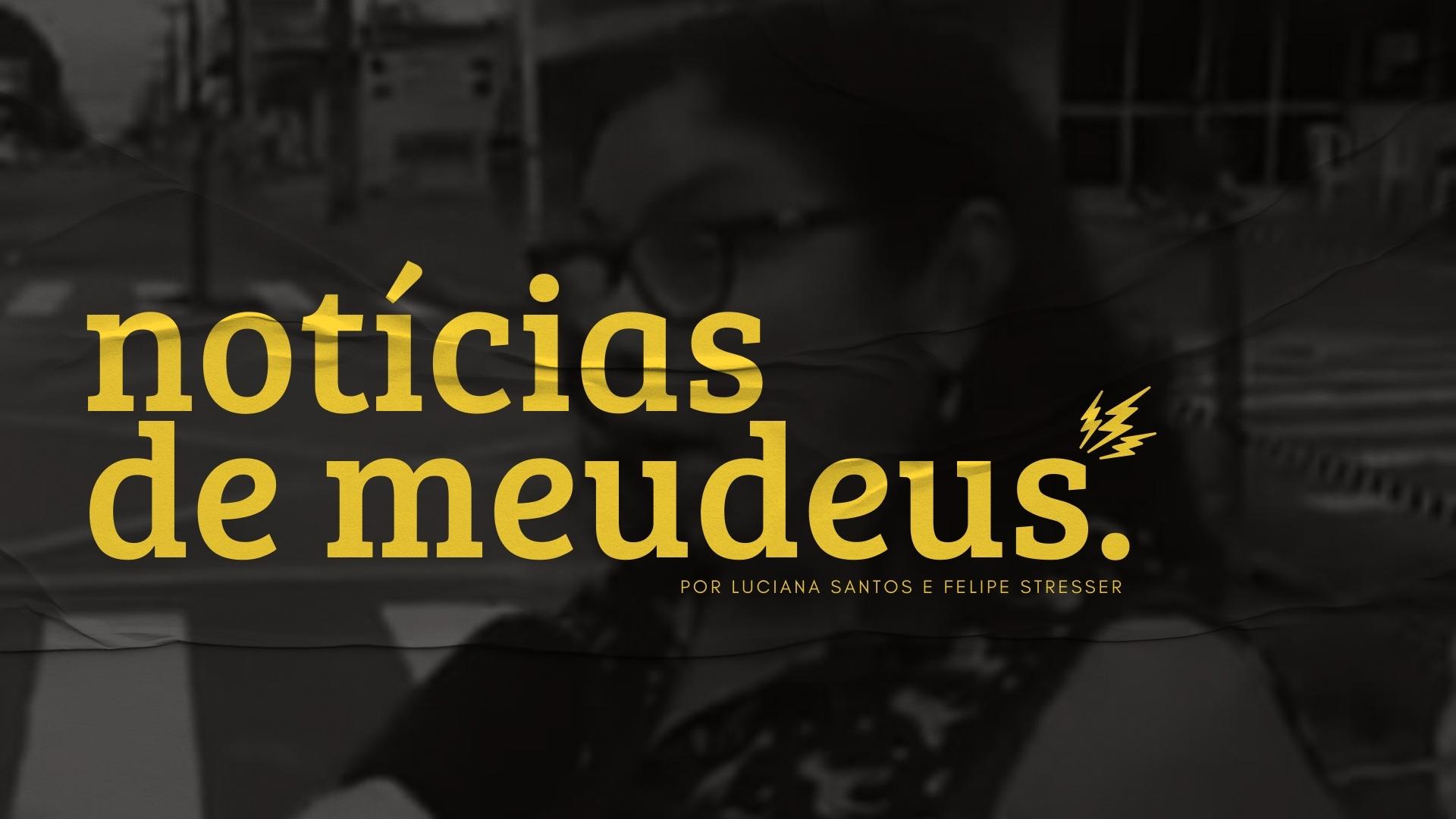 """No fundo: senhora sendo entrevistada com expressão de surpresa. Na frente: o letreiro """"notícias de meudeus por Luciana Santoa e Felipe Stresser"""" na cor amarela."""