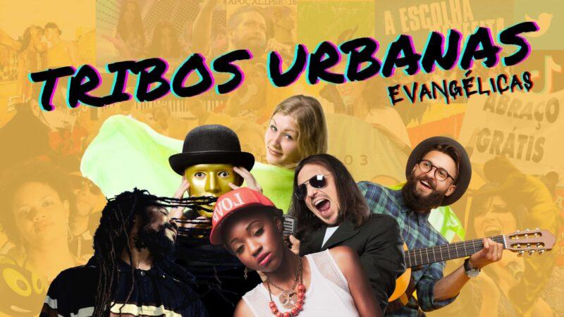 """Plano de fundo amarelo. Acima o letreiro """"Tribos Urbanas Evangélicas"""". Abaixo o letreiro """"Podcrent 103"""" e imagem de jovens com estilos diferentes."""