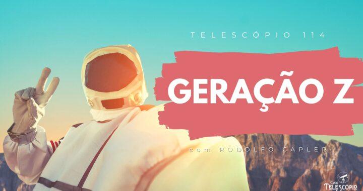 """Imagem de fundo de uma cordilheira de montanhas em um dia ensolarado. Na frente, imagem de um astronauta tirando uma selfie. Na frente, letreiro com o título do programa: """"Geração Z"""" com Rodolfo Capler."""